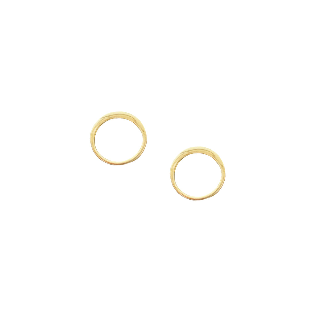 Two shiny gold open circle stud earrings