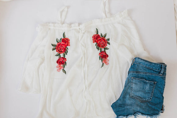 Cold Shoulder Floral Blouse