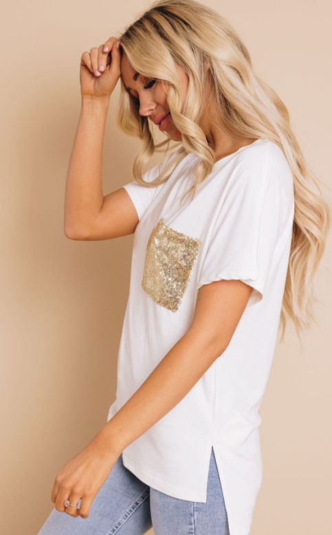 Gold Pocket White Tee
