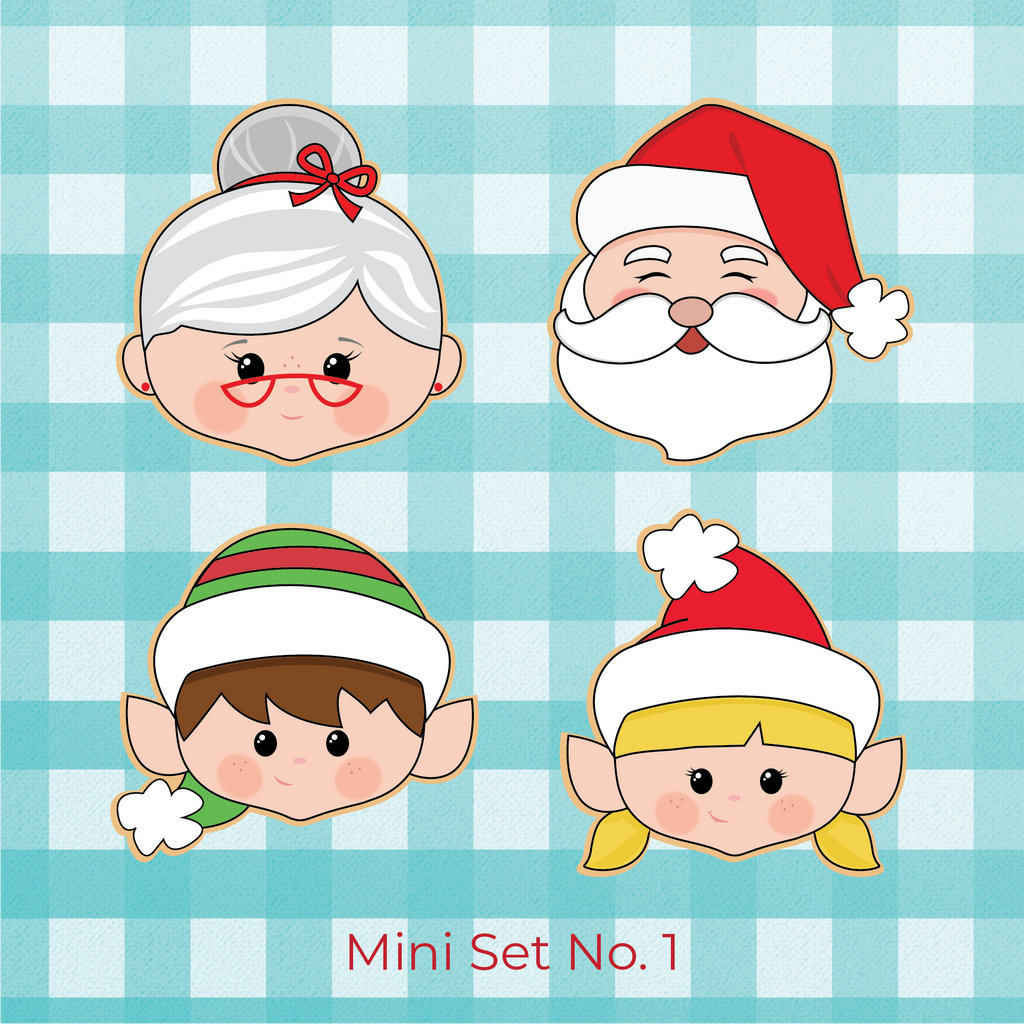 Sugartess Christmas holiday cookie cutter set #1: Santa Claus head, Mrs. Claus head, boy elf head and girl elf head.