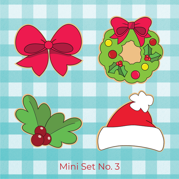 Sugartess Christmas holiday cookie cutter set #3 with 4 designs: Pink ribbon bow, wreath with bow on top, holly leaves, red Santa Claus hat.