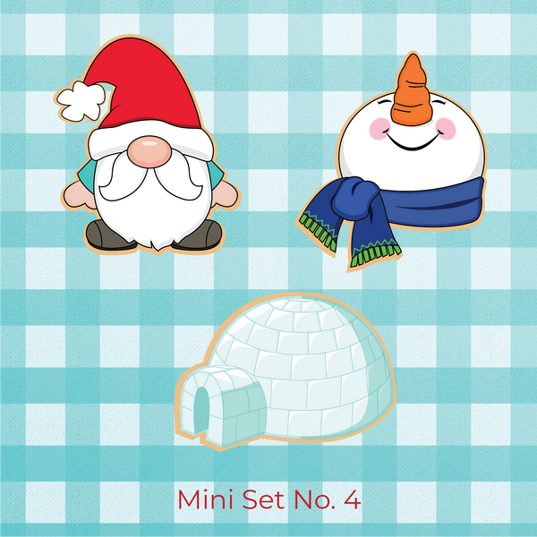 Sugartess Christmas holiday cookie cutter set of 3 designs: winter gnome with Santa Claus hat, snowman head looking up, and igloo house.