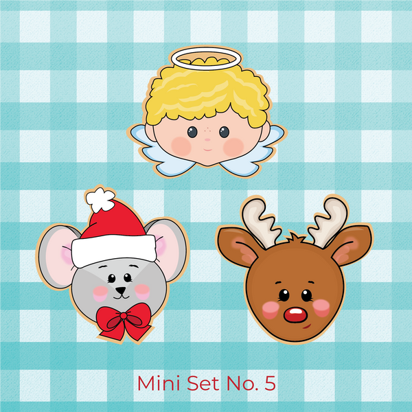 Sugartess Christmas holiday cookie cutter set of 3 designs: Boy angel head with small wings, mouse head wearing winter hat, and reindeer head.