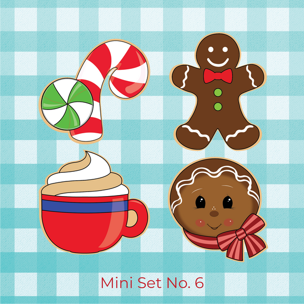 Sugartess Christmas holiday mini cookie cutter set of 4 designs: candy cane with swirl mint on the side, traditional gingerbread man, cup of hot chocolate with whipped cream, and head of gingerbread man with scarf.