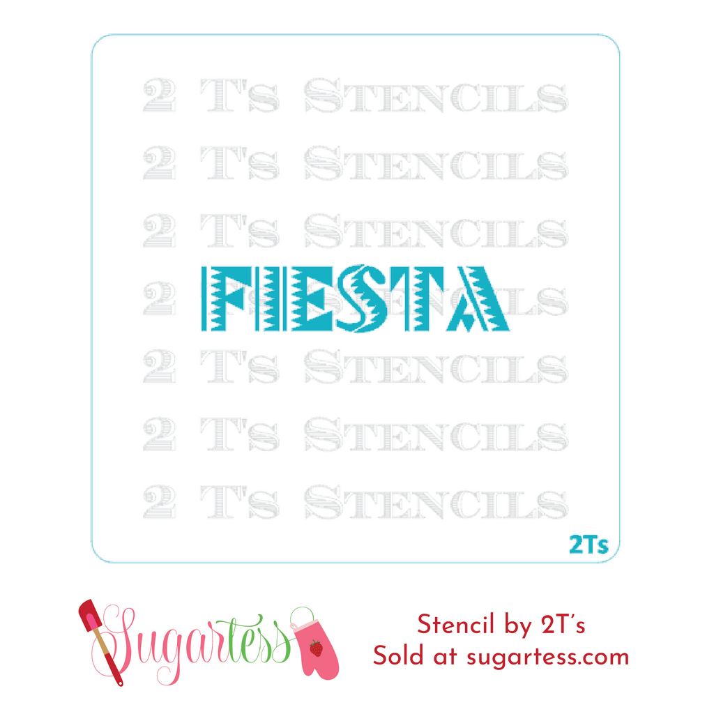 Cookie and cake decorating word or phrase stencil in Mexican traditional font: Fiesta