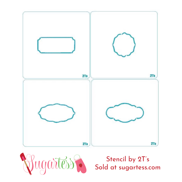 Cookie and cake set of 8 shaped frame blocker stencils.