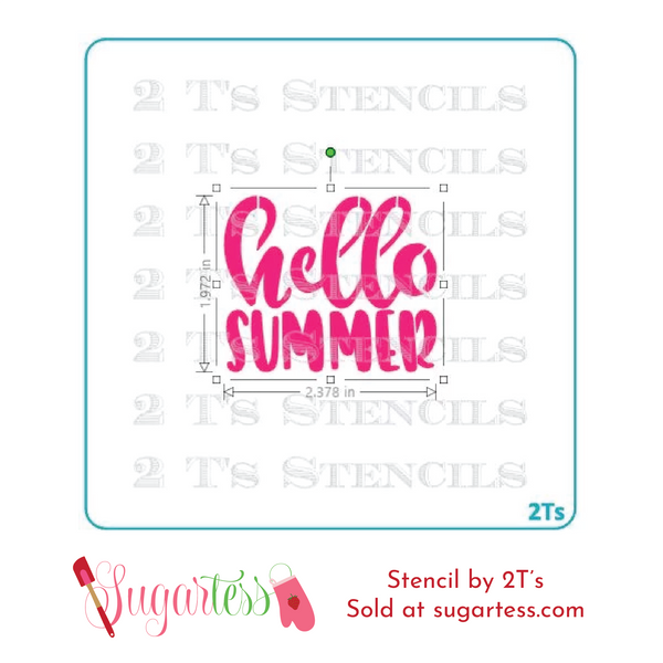 Cookie and cake decorating word or phrase stencil: Hello Summer