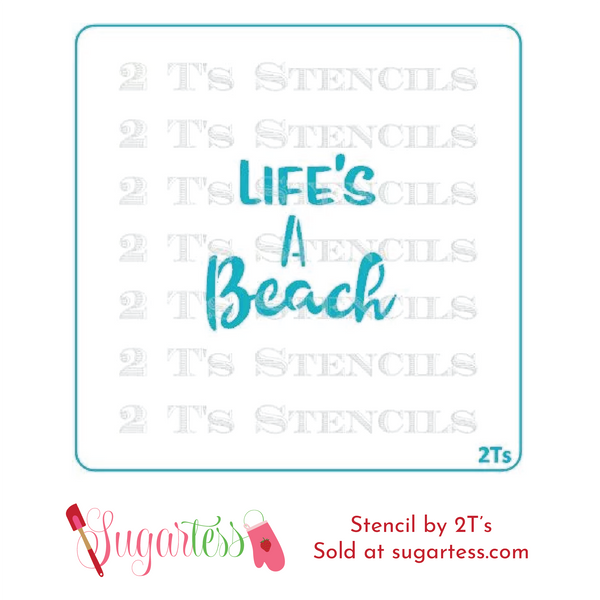 Cookie and cake decorating word or phrase stencil: Life's A Beach