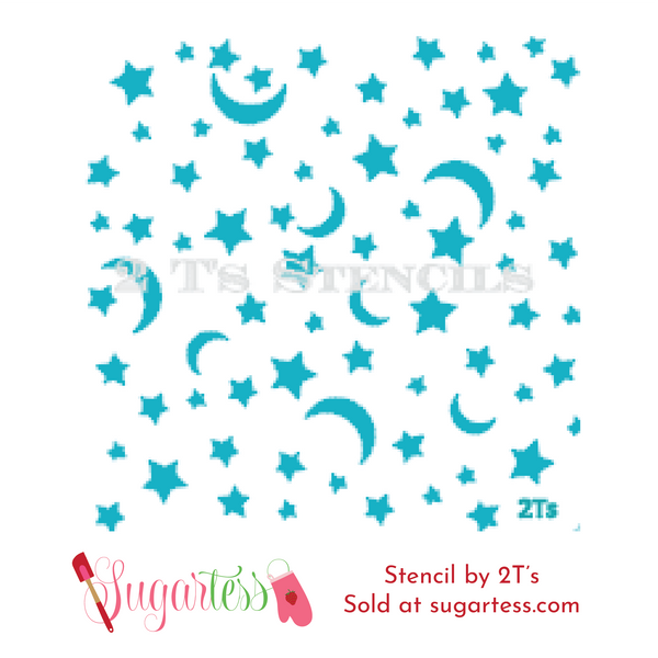 Cookie and cake decorating background stencil of moon and stars.