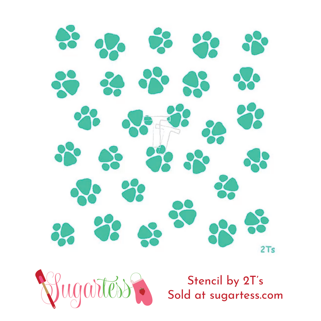 Cookie and decorating set of 2 stencils of paw prints.