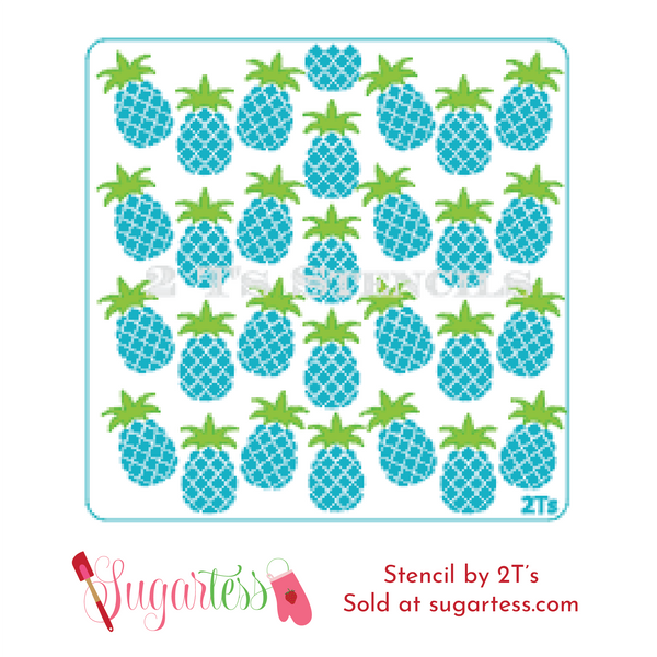 Cookie and cake decorating 2-part background stencil set of pineapples.