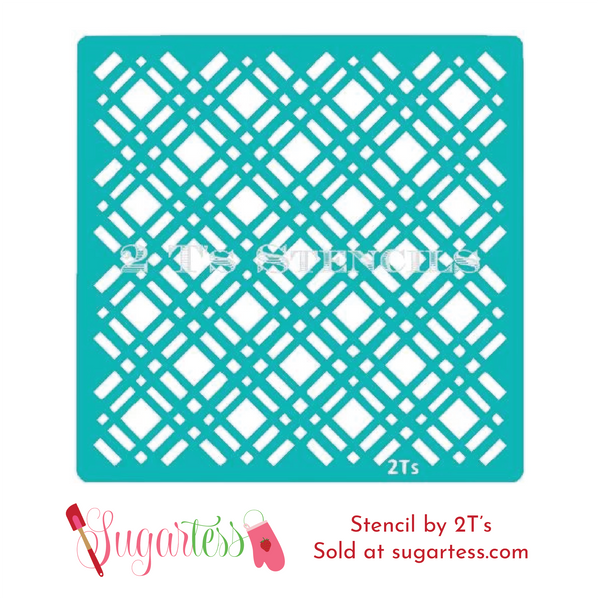 Cookie and cake decorating background stencils of plaid pattern.