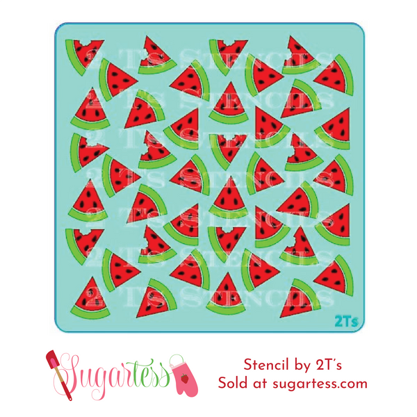 Cookie and cake decorating 3-part background stencil set of watermelons.