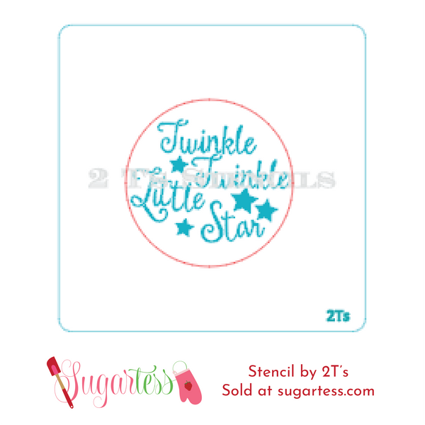 Cookie and cake decorating baby word or phrase stencil: Twinkle Twinkle Little Star