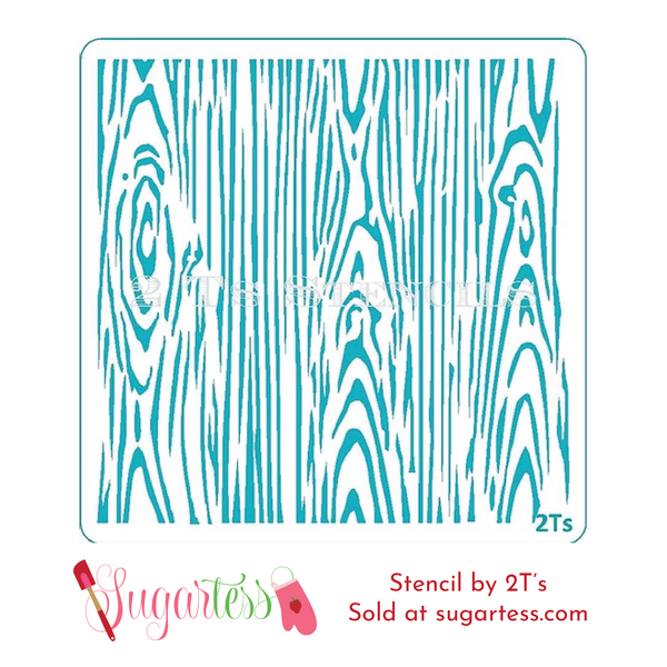 Cookie and cake decorating background stencil of wood grain pattern.