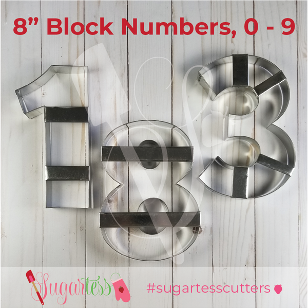Sugartess custom metal cookie cutters in shape of large 8-inch block numbers, zero to nine