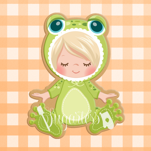 Sugartess cookie cutter in shape of   Baby in Frog Costume or PJs. 3D printed from biodegradable  PLA plastic in different sizes ranging from 2 to 6 inches.