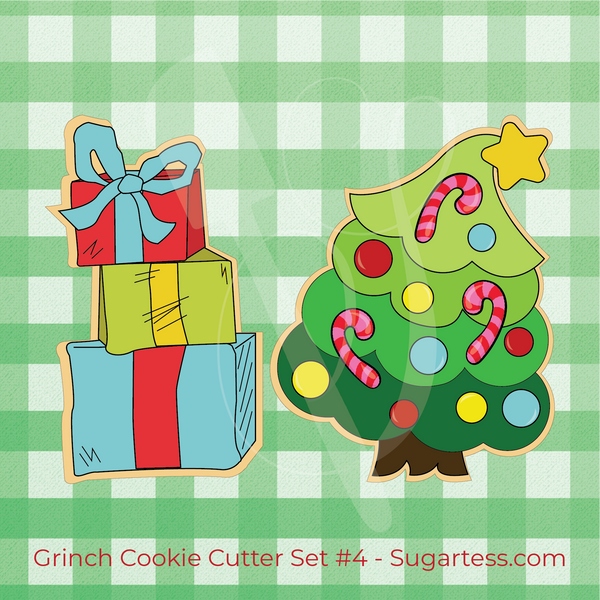 Sugartess Grinch Christmas Cookie Cutter Set #4: Grinch Tree and Grinch Stack of Presents
