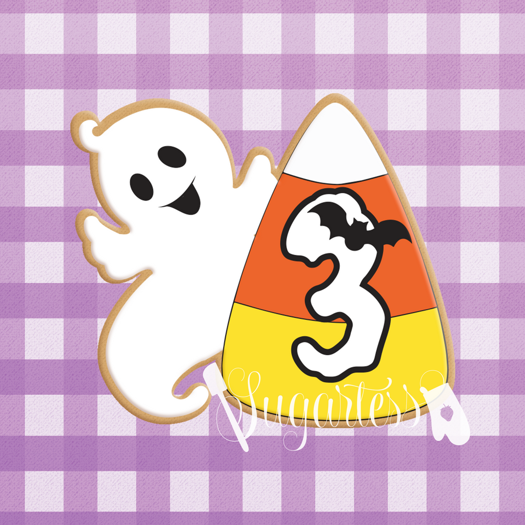 Sugartess custom cookie cutter in shape of any-number ghost and candy corn plaque.