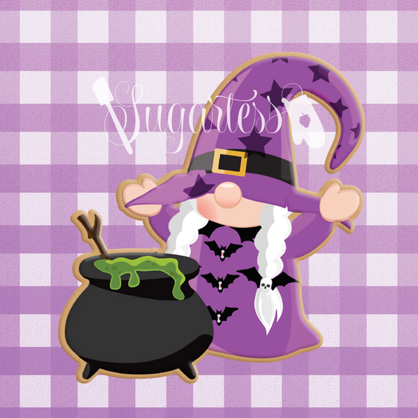 Sugartess custom cookie cutter in shape of gnome with with cauldron.