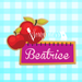 Sugartess custom cookie cutter in shape of school ruler name tag or plaque with apples.