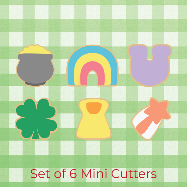 Sugartess custom cookie cutter set in shape of 6 lucky charms: pot of gold, rainbow, horseshoe, shamrock, shooting star, rune.