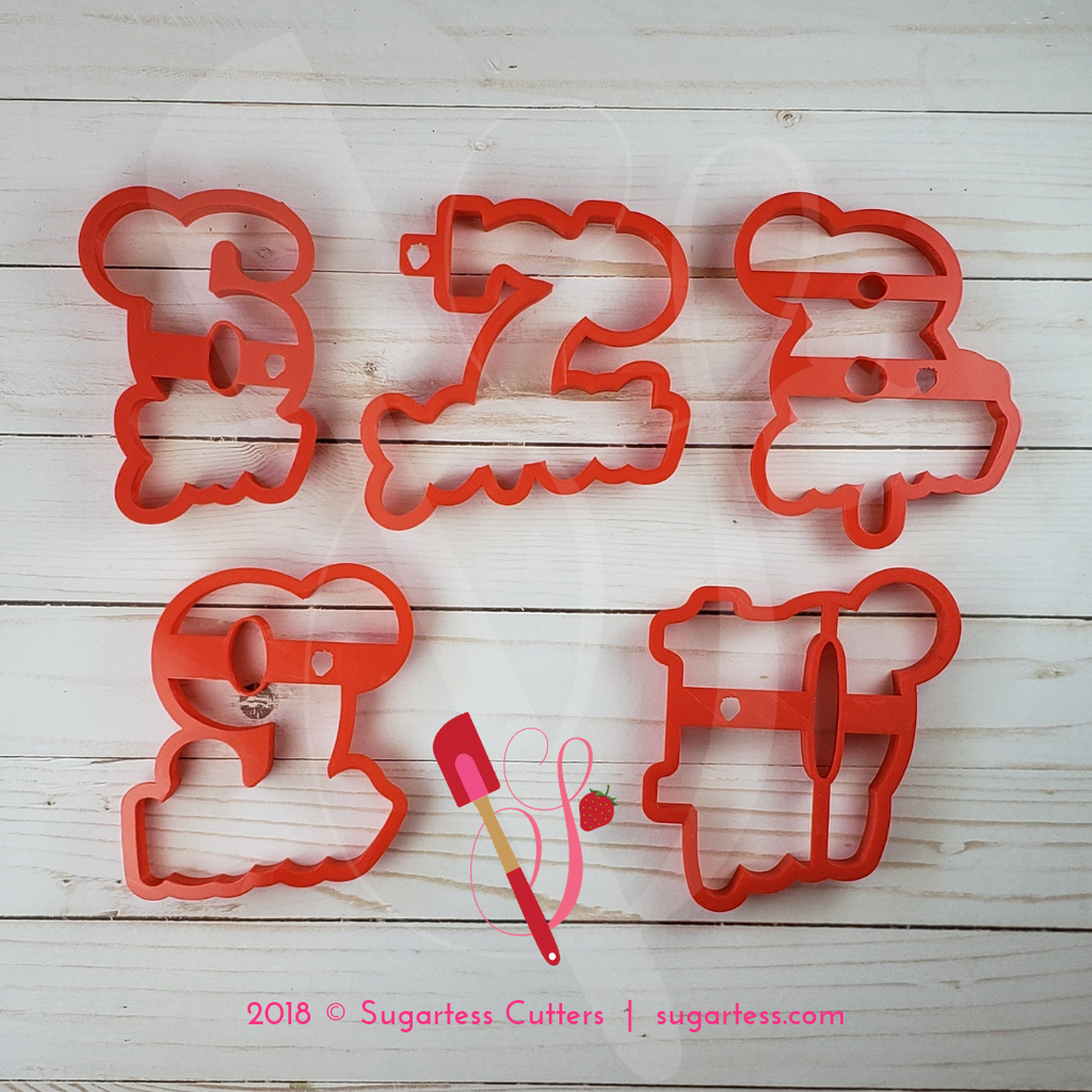 Sugartess cookie cutter in shape of   Convertible Word Numbers 6 to 10 - Half Set. 3D printed from biodegradable  PLA plastic in different sizes ranging from 2 to 6 inches.