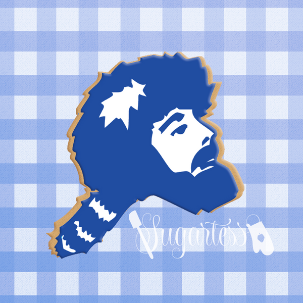 Sugartess custom cookie cutter in shape of Glenville State College logo pioneer head.