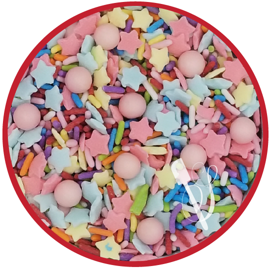 Sugartess sprinkles medley for birthday party cookies, cakes, cupcakes and other treats.