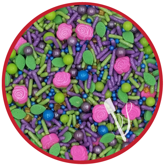 Sugartess sprinkles medley for fairy or whimsical garden themed cookies, cakes, cupcakes and other treats.