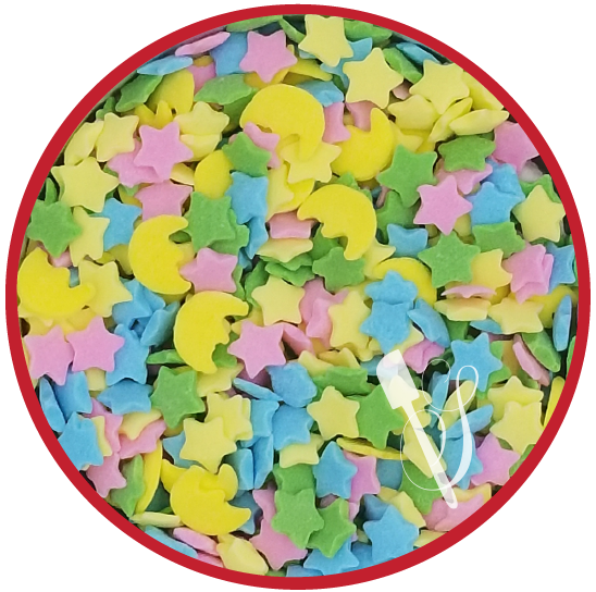 Sugartess sprinkles medley in shape of half-moon and stars for baby starry nights themed cookies, cakes, cupcakes and other treats.