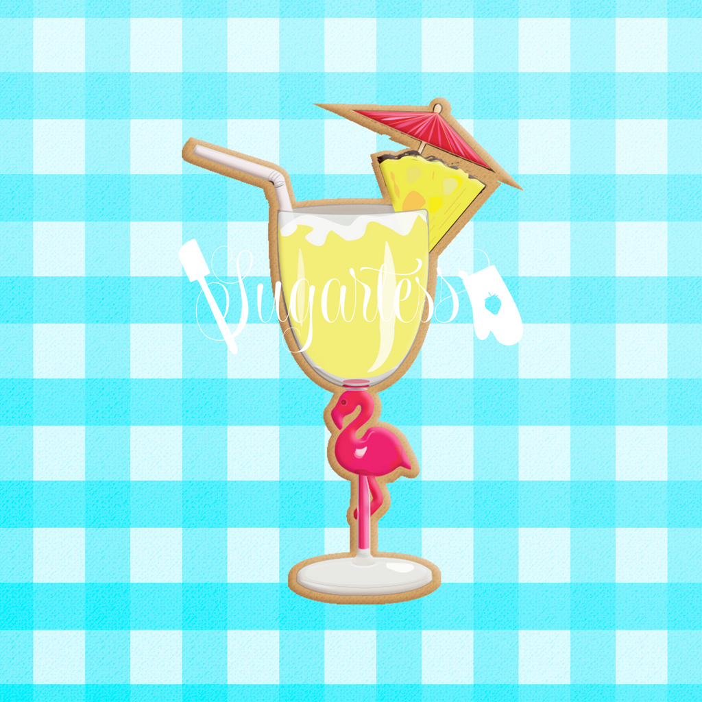 Sugartess custom cookie cutter in shape of summer flamingo cocktail glass.