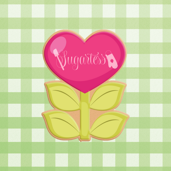 Sugartess custom cookie cutter in shape of heart flower with leaves.