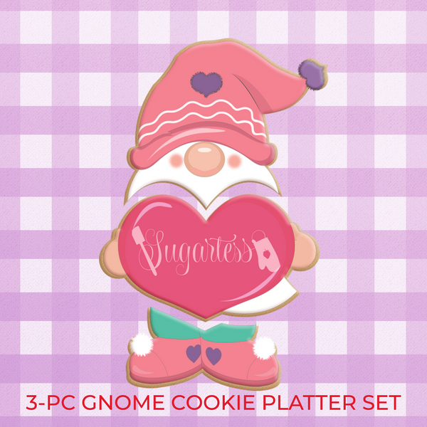 Sugartess custom valentine's day cookie cutter set of 3 or 4 parts for a cookie platter. Design of a love gnome holding a big heart.