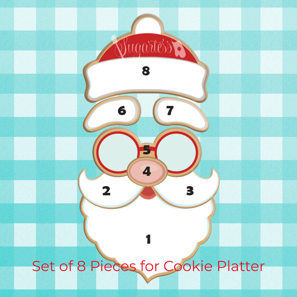 Sugartess custom holiday cookie cutters in shape of Santa Claus individual face parts to make a platter of 8 cookies. Set includes Santa's beard, 2 mustache sides, nose, glasses, 2 eyebrows and the winter hat.
