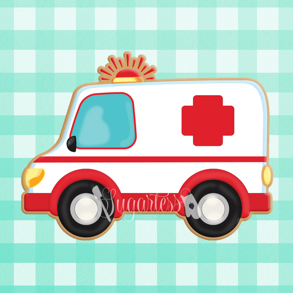 Sugartess custom cookie cutter in shape of ambulance.