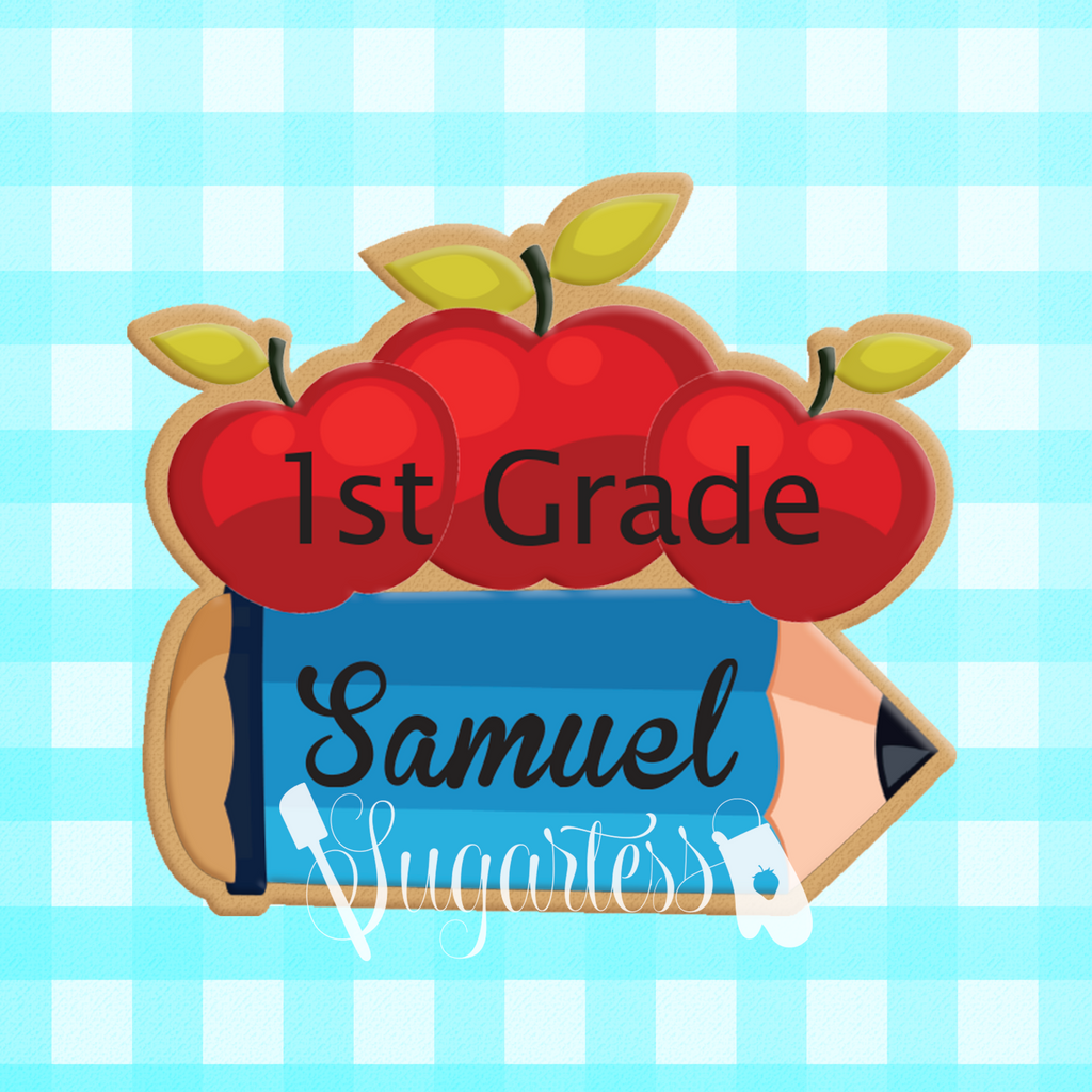 Sugartess custom cookie cutter in shape of back-to-school chubby pencil with 3 apples on top for name tag.