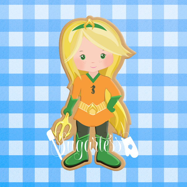Sugartess custom cookie cutter in shape of Acqua Girl super hero. 3D printed from biodegradable  PLA plastic in diferent sizes ranging from 2 to 6 inches.