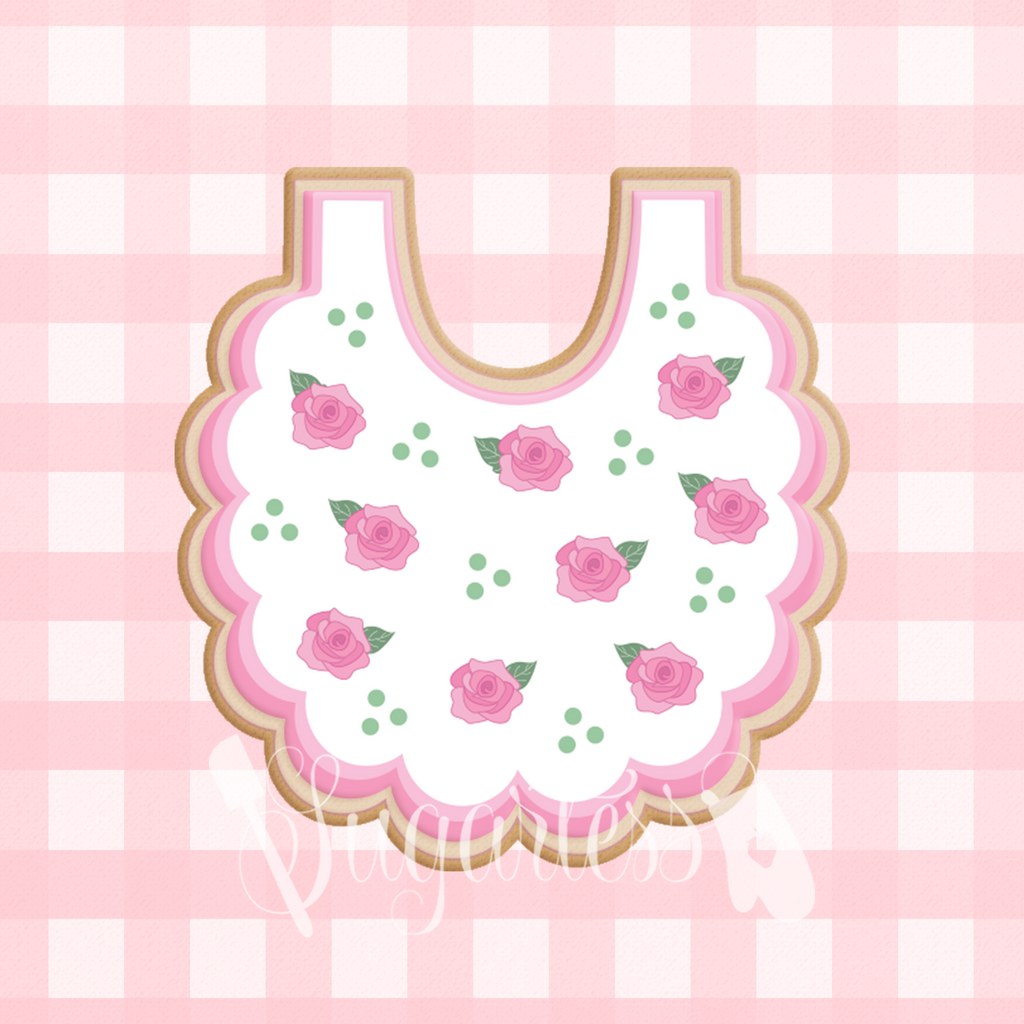 Sugartess custom cookie cutter in shape of a Baby Scalloped Edge Bib.