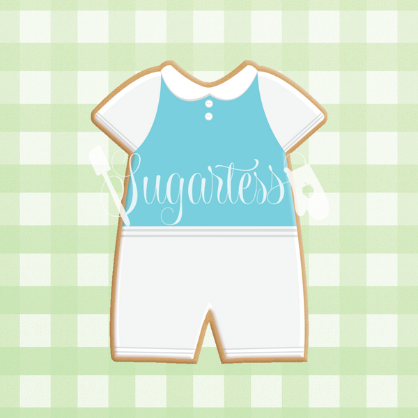 Sugartess custom cookie cutter in shape of v-neck baby romper.