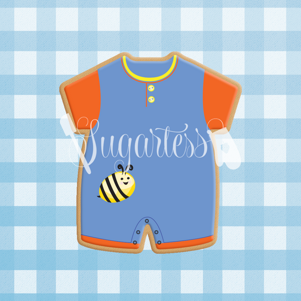 Sugartess custom cookie cutter in shape of baby romper with round neck.