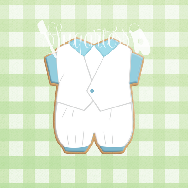 Sugartess custom cookie cutter in shape of Baby Boy Christening Romper with Vest Outfit
