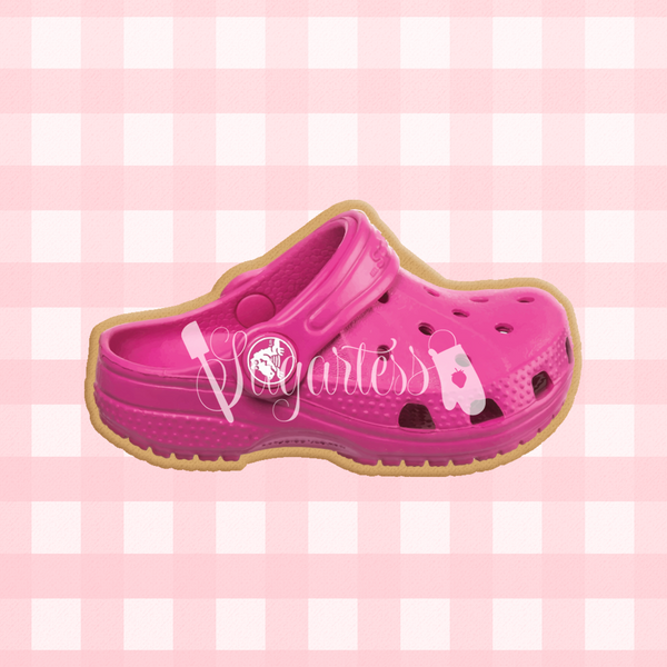 Sugartess custom cookie cutter in shape of pink toddler Croc shoe.