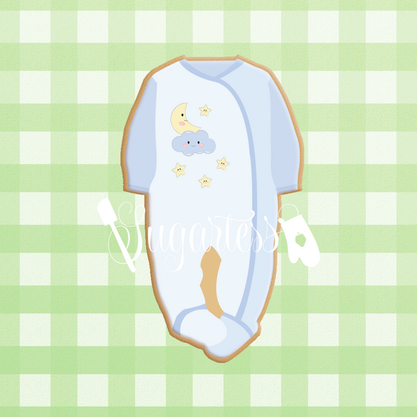 Sugartes custom cookie cutter in shape of a baby footed onesie pajamas.