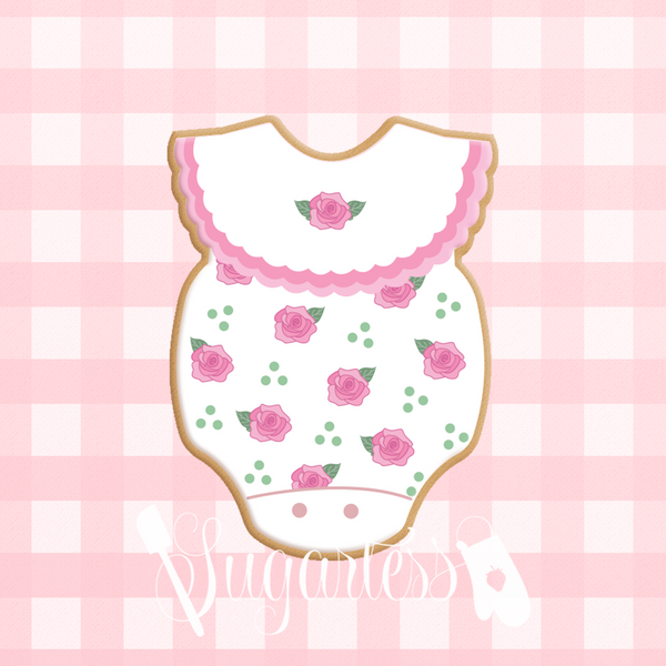 Sugartess custom cookie cutter in shape of Baby Girl Scalloped Collar Onesie Romper.