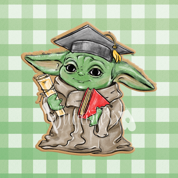 Sugartess custom cookie cutter in shape of graduate Baby Yoda.