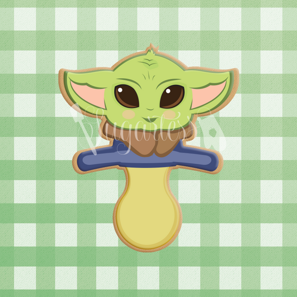 Sugartess custom cookie cutter in shape of Baby Yoda pacifier.