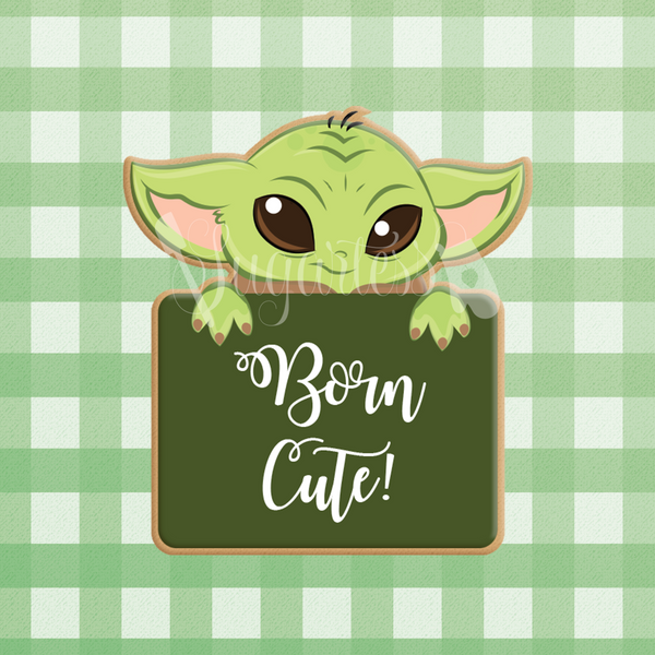 Sugartess custom cookie cutter in shape of Baby Yoda name plaque.