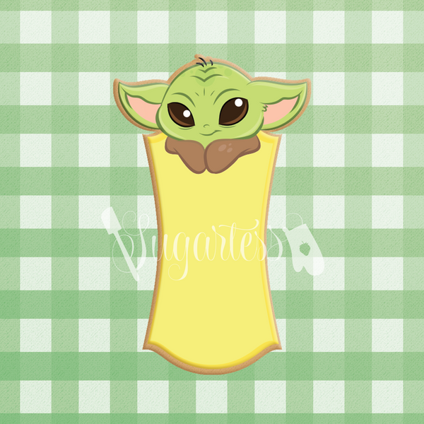 Sugartess custom cookie cutter in shape of Baby Yoda tall plaque.