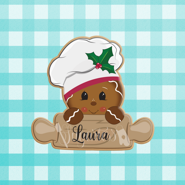 Sugartess custom holiday cookie cutter in shape of Baking Rolling Pin with Head of Gingerbread Man Wearing a Baker's Hat.